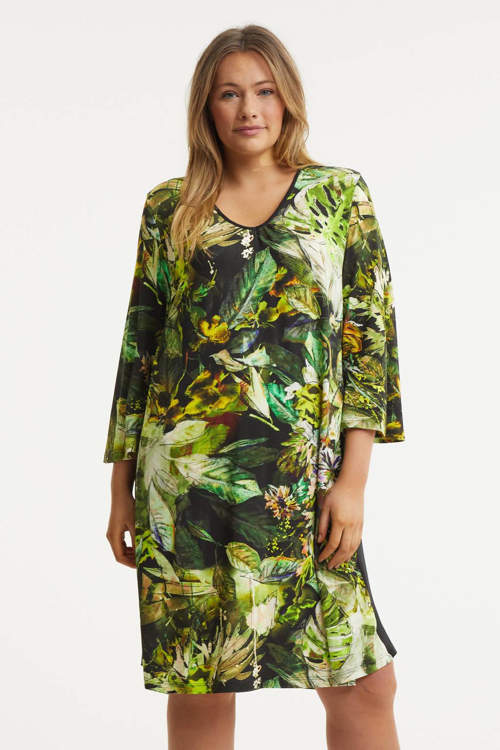 STUDIO jurk Mona met contrastbies groen/lichtgroen/zwart, Groen/lichtgroen/zwart