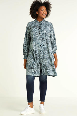blouse met all over print blauw