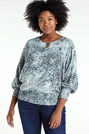 top met all over print blauw