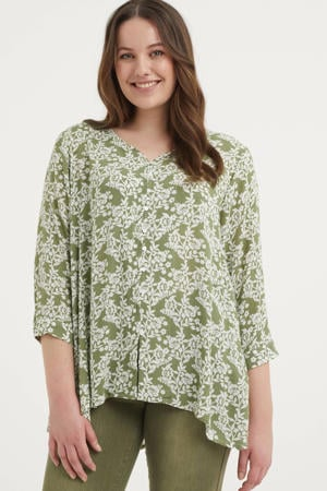 top Ulla met all over print en plooien groen/wit