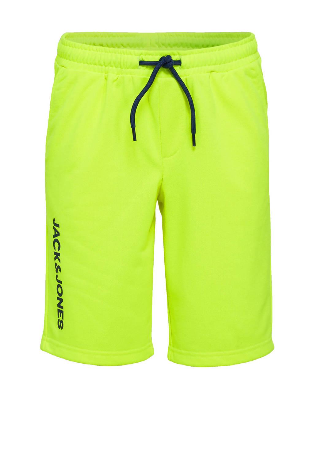 JACK & JONES JUNIOR sweatshort Dennis met logo neon geel/zwart, Neon geel/zwart
