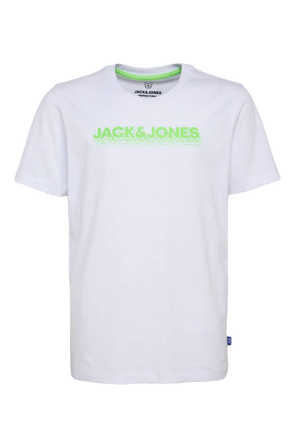 JACK & JONES JUNIOR T-shirt Dennis met logo wit/groen, Wit/groen