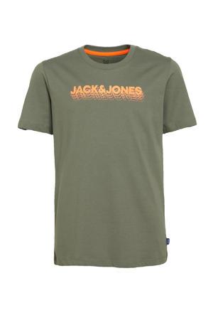 T-shirt Dennis met logo groen