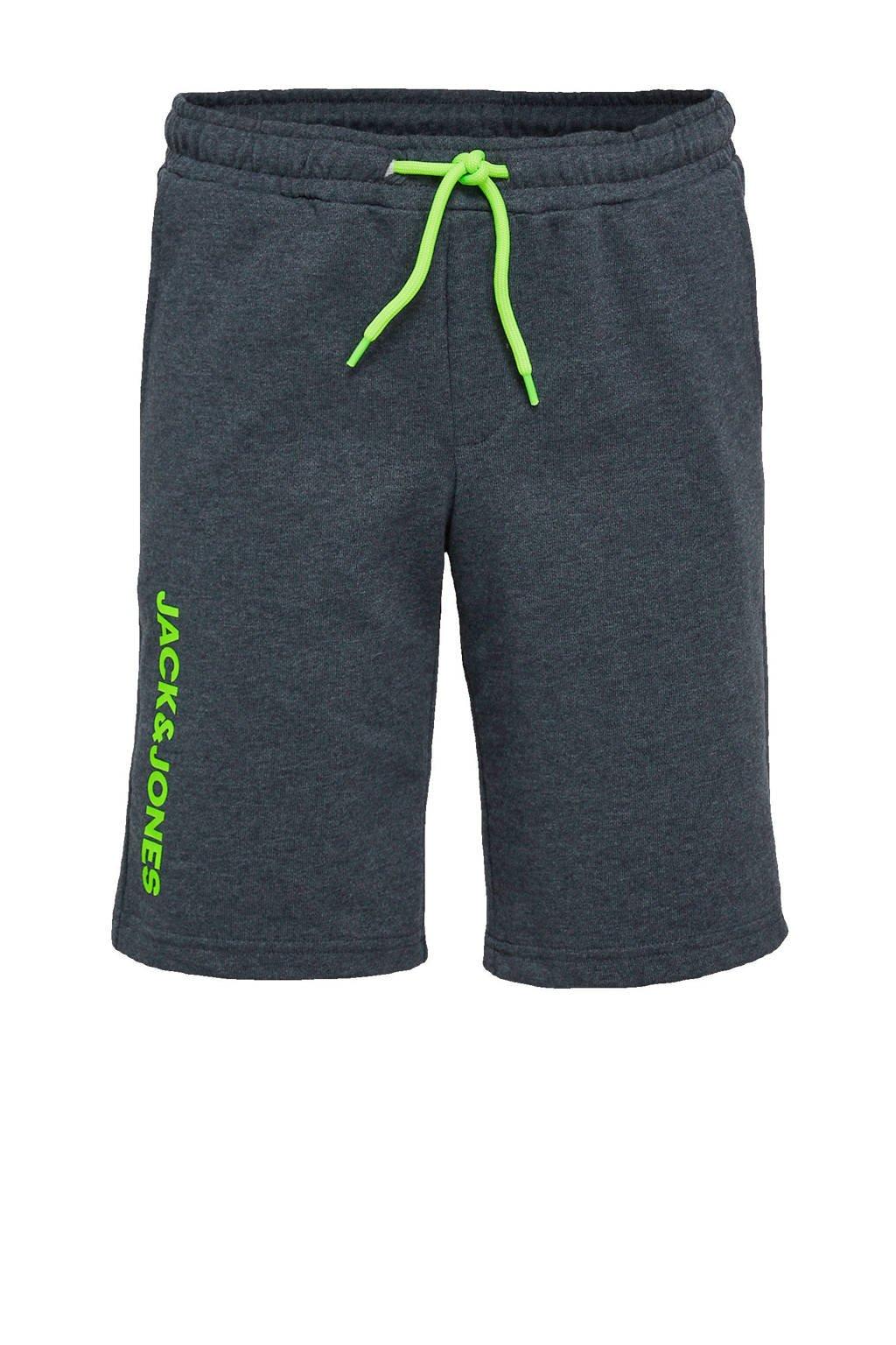 JACK & JONES JUNIOR sweatshort Dennis met logo donkerblauw/groen, Donkerblauw/groen