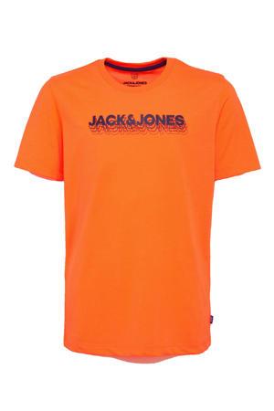 T-shirt Dennis met logo oranje