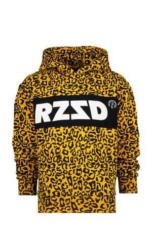 hoodie Megan met panterprint okergeel/zwart