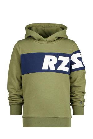 hoodie Jeff met logo army groen