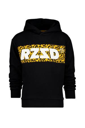 hoodie Megan met logo zwart/okergeel