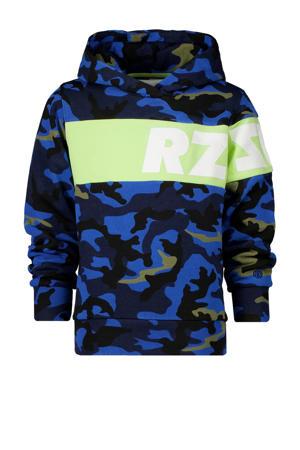 hoodie John met camouflageprint blauw/donkerblauw