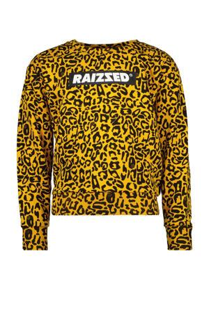 sweater Madison met panterprint okergeel/zwart