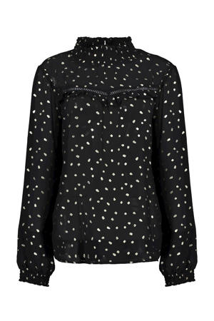 semi-transparante top met all over print en glitters zwart/zilver