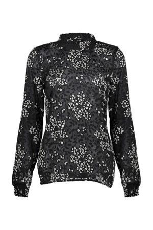 gebloemde semi-transparante top zwart/wit