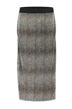 rok met dierenprint en textuur beige/ecru/zwart