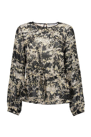 semi-transparante peplum top met all over print en open detail zwart/beige