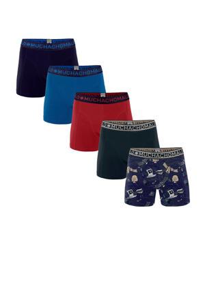 boxershort - set van 5 donkerblauw/rood/blauw