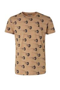 No Excess T-shirt met all over print zalm, Zalm