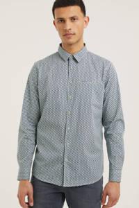 No Excess regular fit overhemd met all over print grijsblauw, Grijsblauw