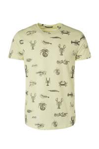 No Excess T-shirt met all over print ecru, Ecru