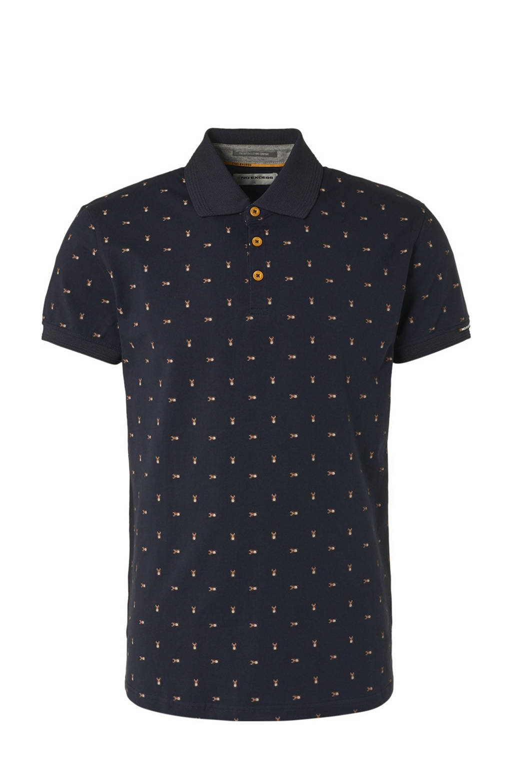 No Excess regular fit polo met all over print donkerblauw, Donkerblauw