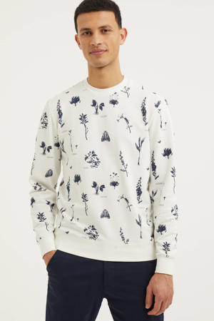 sweater met all over print ecru/donkerblauw