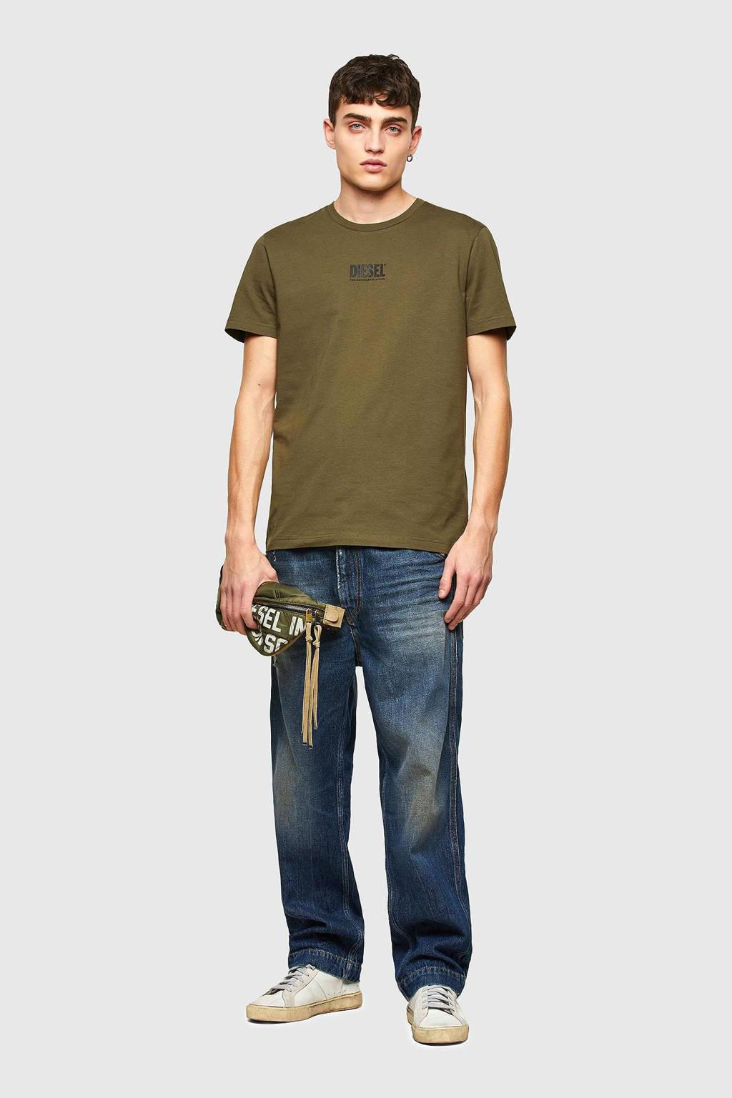 Diesel T-shirt T-Diego-Smallogo met logo olijfgroen, Olijfgroen