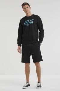 Diesel sweater S-GIRK met logo zwart, Zwart