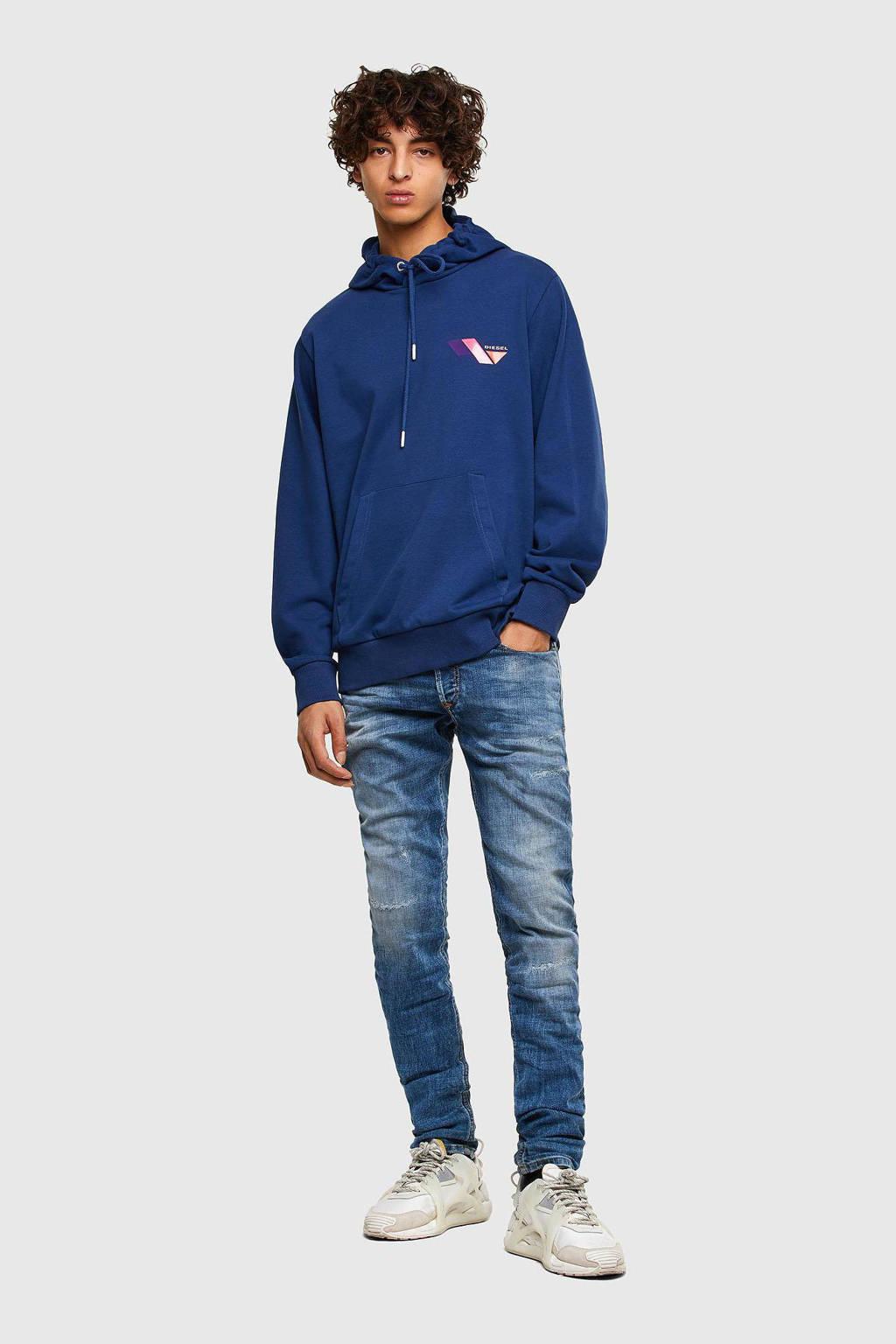 Diesel hoodie S-GIRK met logo blauw, Blauw
