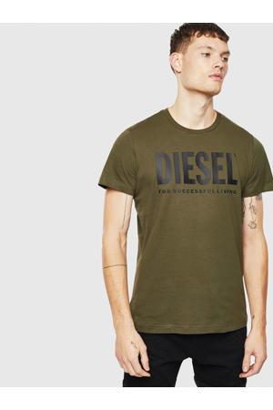 T-shirt T-Diego-Logo met logo olijfgroen