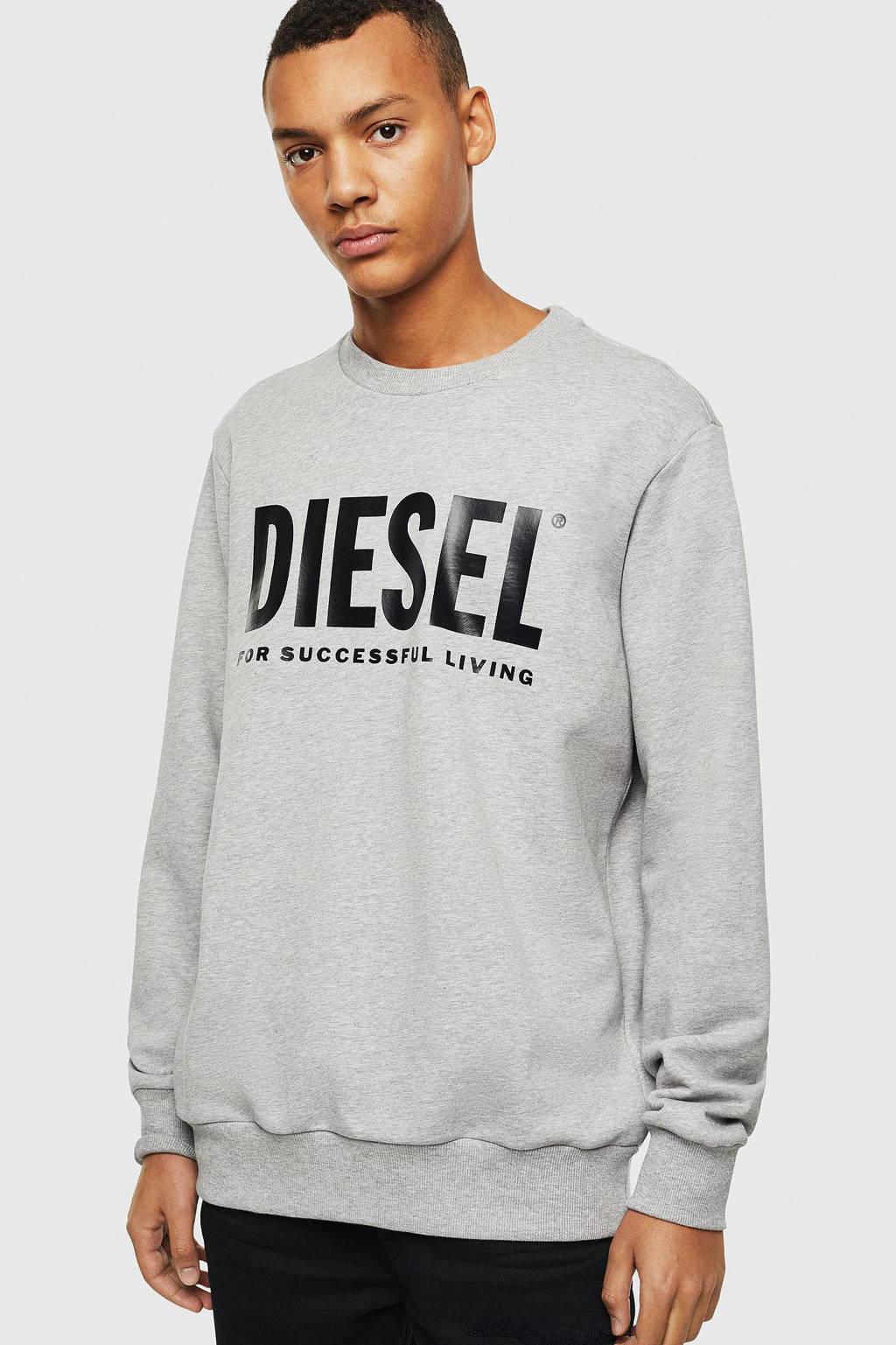 Diesel sweater met logo grijs melange, Grijs melange