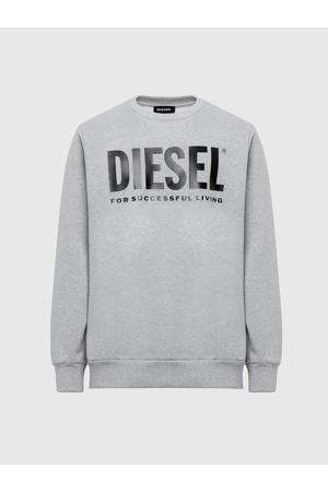 sweater met logo grijs melange