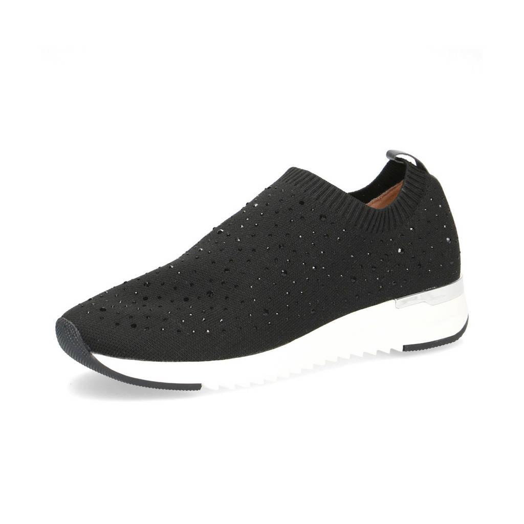 Caprice Kaiafly  sneakers met strass steentjes zwart, Zwart