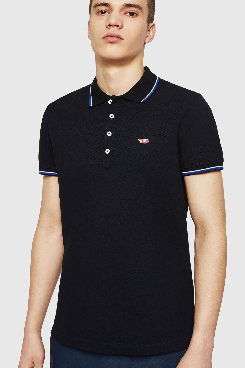 Diesel slim fit polo met contrastbies zwart, Zwart