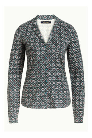 blouse Patty met all over print donkergroen/wit/paars