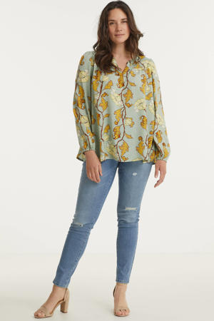 top Haley met all over print mintgroen