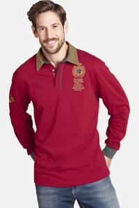 Jan Vanderstorm oversized fit polo Plus Size Jaarne met printopdruk rood, Rood
