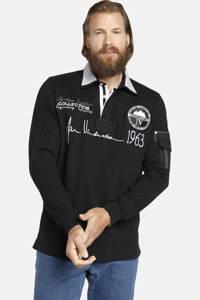 Jan Vanderstorm polo Plus Size met printopdruk zwart, Zwart