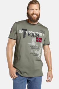 Jan Vanderstorm oversized fit T-shirt Plus Size Solve met printopdruk kaki, Kaki