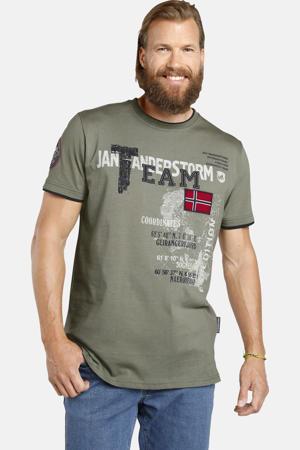 oversized fit T-shirt Plus Size Solve met printopdruk kaki