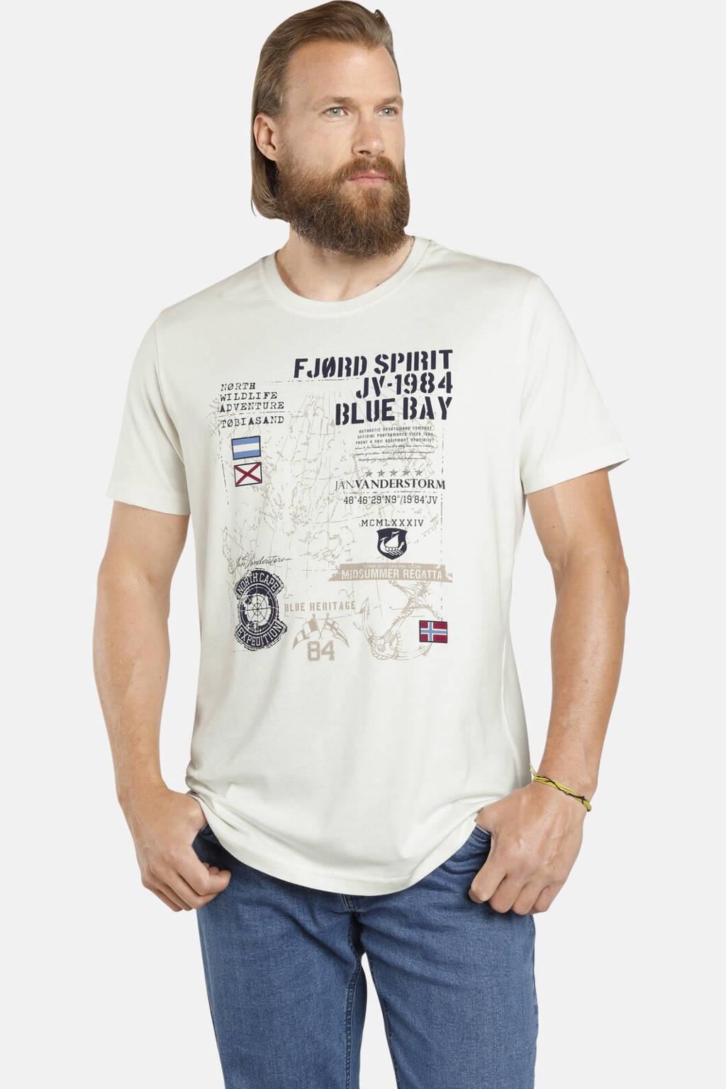 Jan Vanderstorm T-shirt Plus Size Valteri met printopdruk wit, Wit