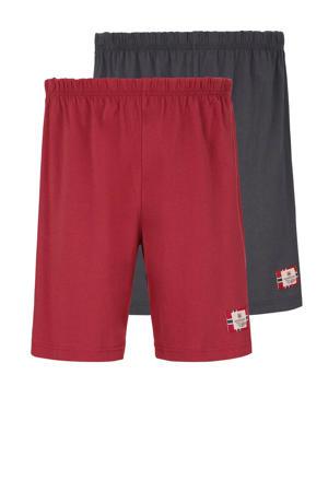 Plus Size pyjamashort (set van 2) rood/donkerblauw
