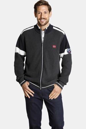 grofgebreid regular fit vest Plus Size Anve donkergrijs