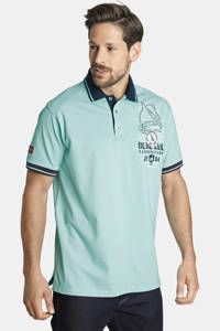 Jan Vanderstorm oversized fit polo Plus Size Dagnar met contrastbies turquoise, Turquoise