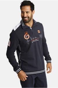 Jan Vanderstorm oversized fit polo Plus Size Mile met contrastbies donkerblauw, Donkerblauw