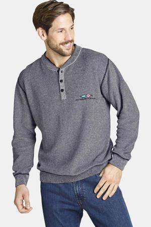gemêleerde trui  Plus Size Chasper met contrastbies donkerblauw