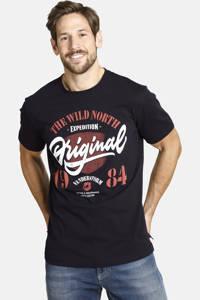 Jan Vanderstorm oversized fit T-shirt Plus Size Dormod met printopdruk zwart, Zwart