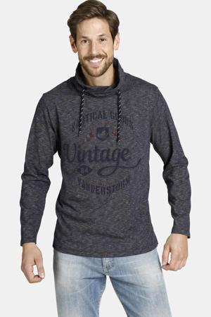 regular fit sweater Plus Size Hagen met printopdruk donkerblauw