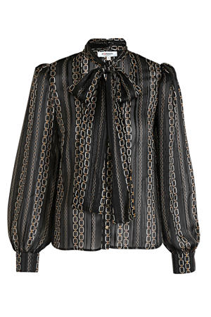 semi-transparante blouse met all over print en plooien zwart