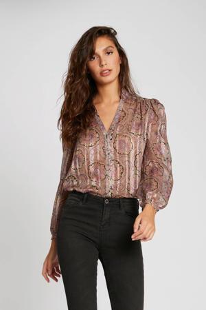 semi-transparante geweven blouse met paisleyprint en glitters roze