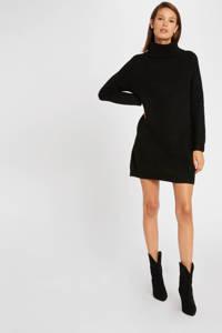 Morgan gemêleerde ribgebreide jurk zwart/ zilver