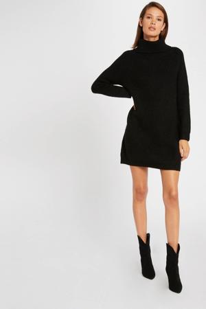 gemêleerde ribgebreide jurk zwart/ zilver